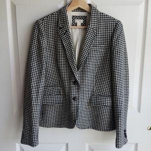 J Crew Wool Blend Houndstooth Blazer Jacket Size 8